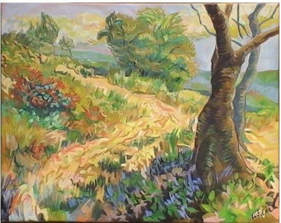 Hellend pad met kastanje bomen