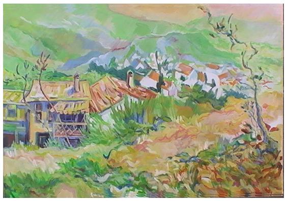 20110728 Frans dorpje met balkon 40x60