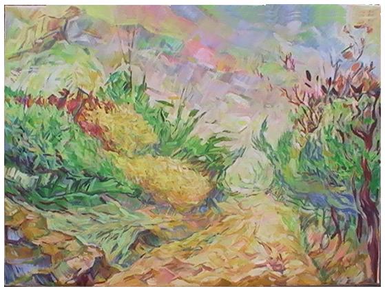 20120912 Landweggetje bij Malpaïs 50x70a