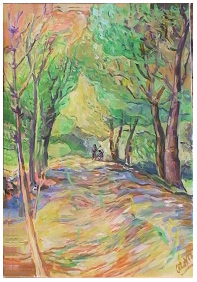 Drie schilders in de zon (Kabouterbos, Curacao)