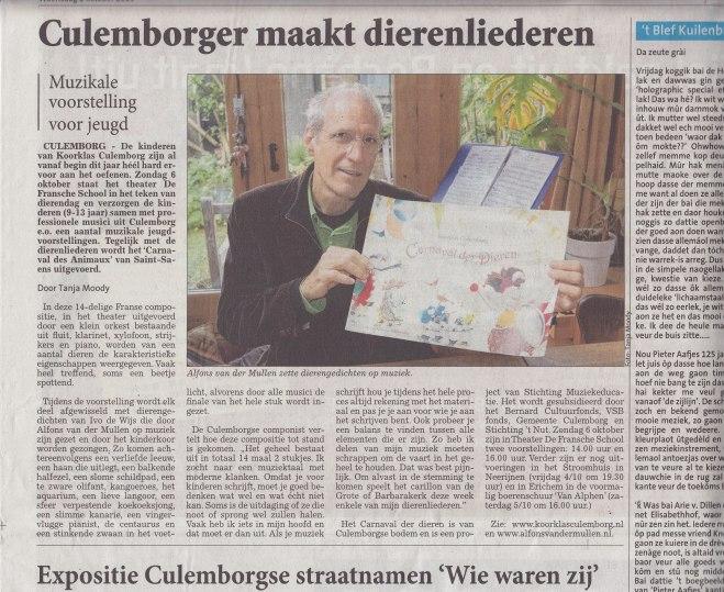 Interview in de Culemborgse courant van woensdag 2 september 2013