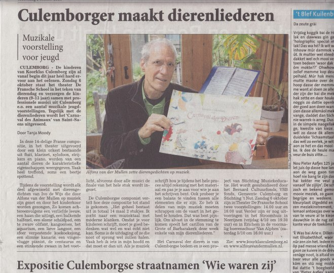 Interview in de Culemborgse courant van woensdag 2 september 2013