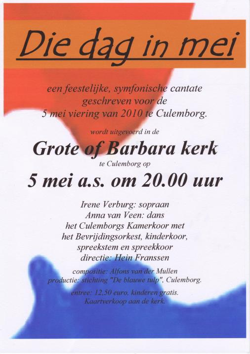 Poster for the concert on May 5th 2010 at the Grote of Barbarakerk (church) of Culemborg.