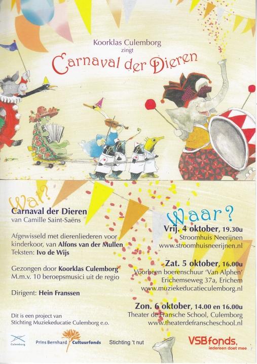Flyer van de Dierenliederen en het Carnaval des Animaux, ontworpen door Tineke van der Stelt